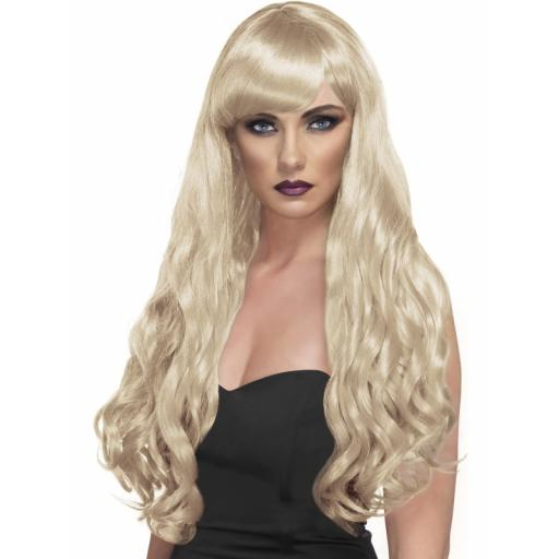 Desire Wig Blonde long Curly with Fringe