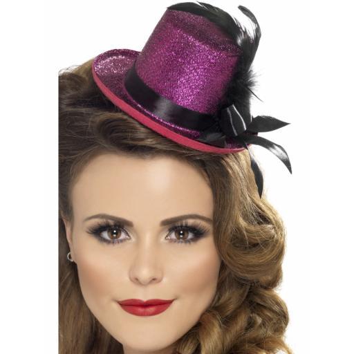 Burlesque Mini Top Hat Hot Pink
