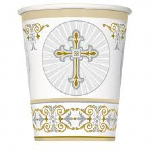 Radiant Cross Silver&Gold Paper Cups 8pcs 270ml