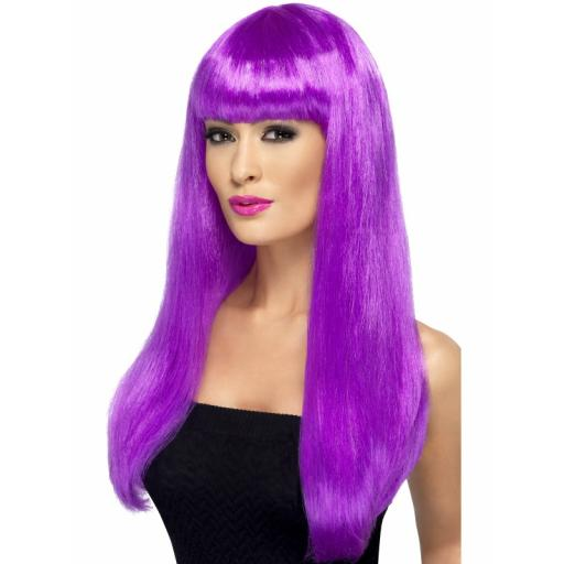 Babelicious Wig Purple Long Straight with Fringe