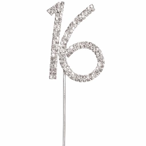 Diamante 16 Birthday Cake Topper Decoration