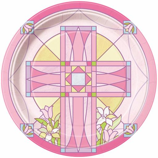 Sacred Cross Pink Paper Plates 8pcs