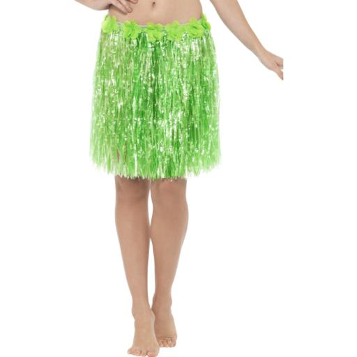 Hawaiian Hula Skirt with Flowers Green