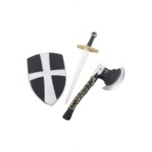 Crusaider Set 3pcs shield sword & axe