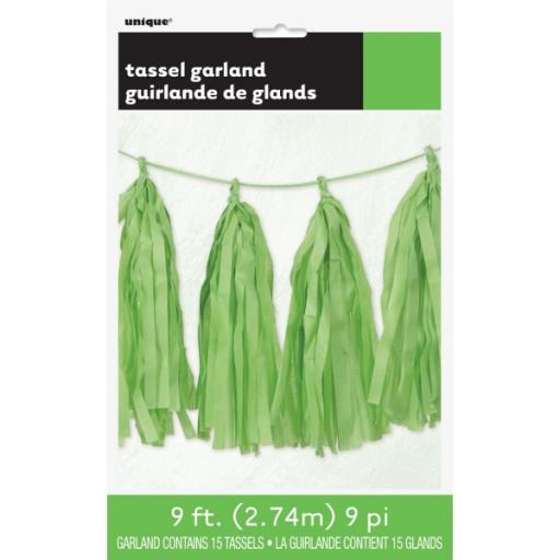 9ft Tissue Paper Lime Green Tassel Garland