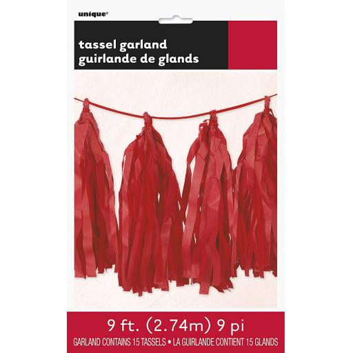 9ft Tissue Paper Red Tassel Garland