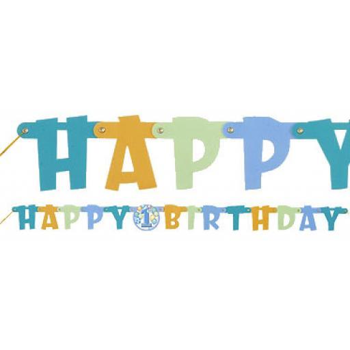 1st Birthday Balloons Blue Banner 119m Long Previous Next