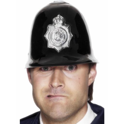 Police Helmet Plastic Black / Silver