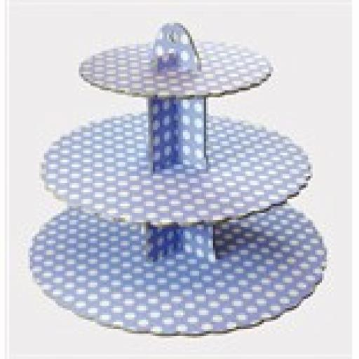 Three Tier Blue & White Dotts Cupcake Stand 13x14