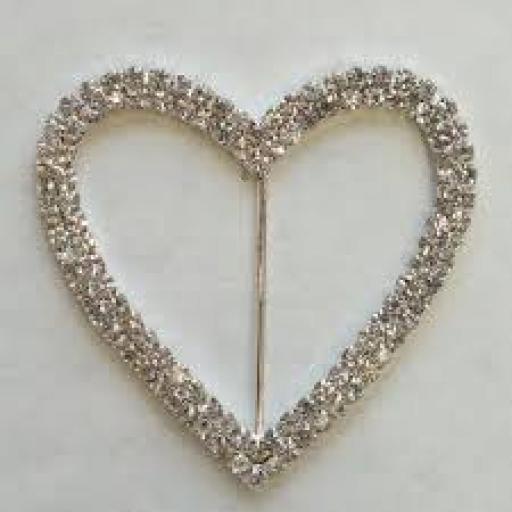 Diamante Heart Ribbon Buckle 5 pcs in pack