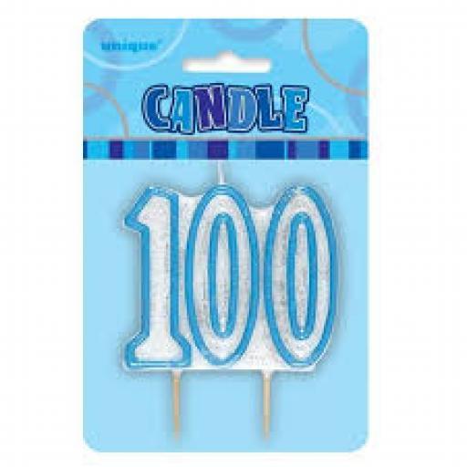 Glitz Blue Numeral 100 Candle
