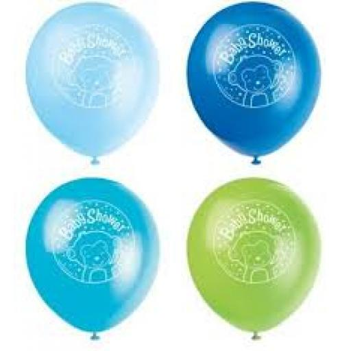Baby Shower Boy Monkey Latex 11 inch Balloons 8ct