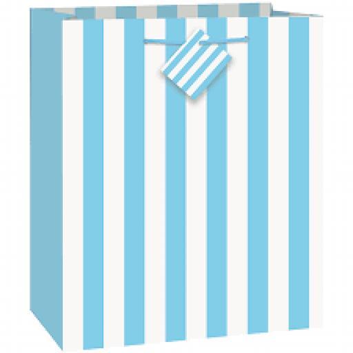 Powder Blue Stripe Gift Bag Medium