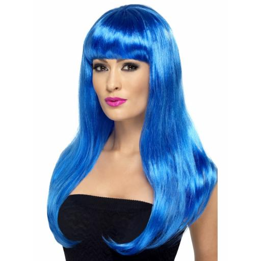 Babelicious Wig Straight Blue Long with Fringe