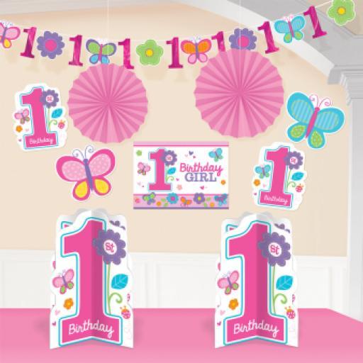 Sweet 1st Birthday Girl Room Decorating Kit