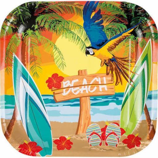 Beach Hawaiian Paper Square Plates 6pcs