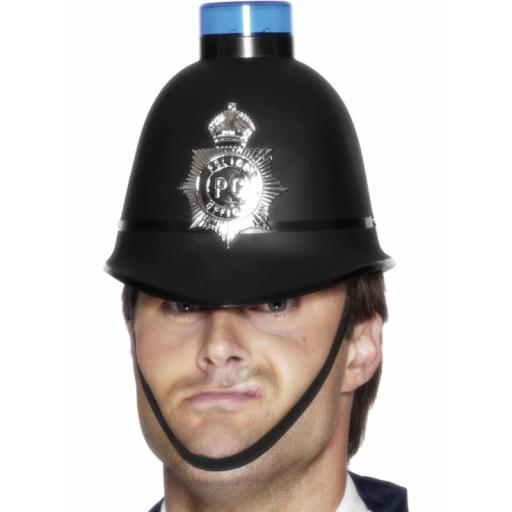 Police Helmet with Flashing Siren Light, Black