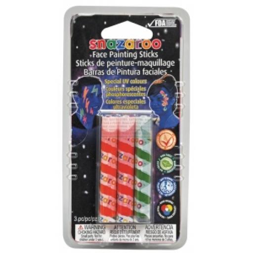 Snazaroo Face Painting Sticks Glow in Dark