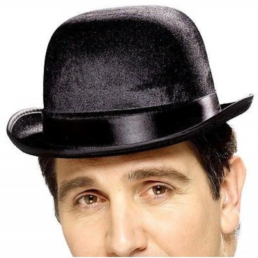 Hat Bowler Velour Black Adult