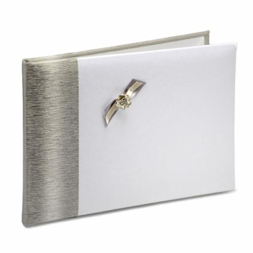 White Satin Guest Book/Photo Album With Silver Edge/Bow