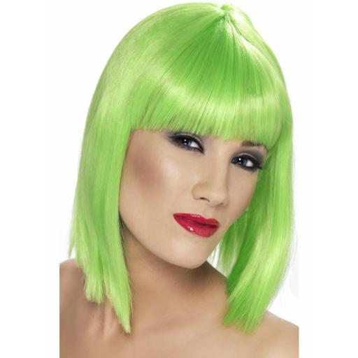 Glam Wig Neon Green Short Blunt & Fringe