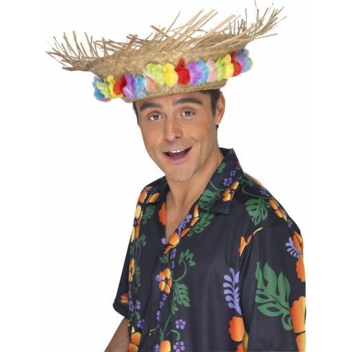Beach Hat With Luau Flower Trim