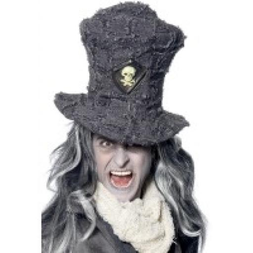 Gravedigger Top Hat Grey with Skull Emblem
