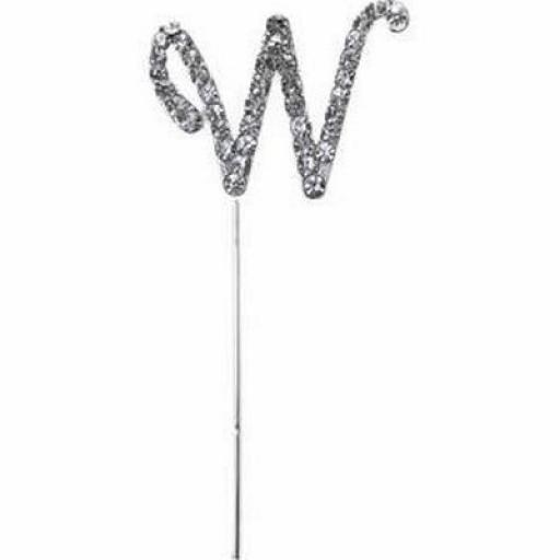 Diamante Letter W Cake Topper Decoration