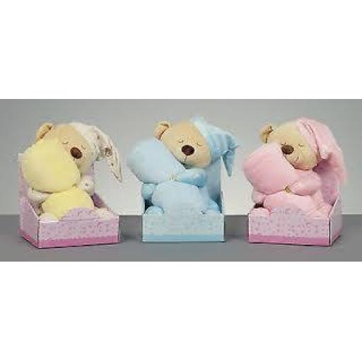Bedtime Bear with Blanket 26cm 3 asstd Colour
