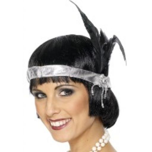 Silver Satin Charleston Headband with black feather