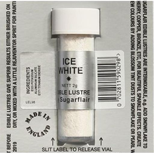 Sugarflair Edible Lustre- Ice White 2g
