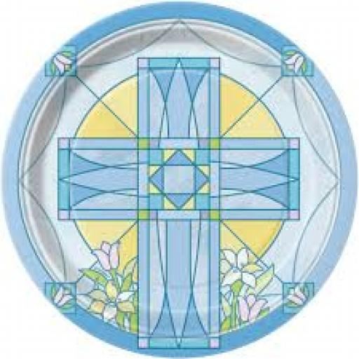 Sacred Cross Blue Paper Plates 8pcs 7 inch
