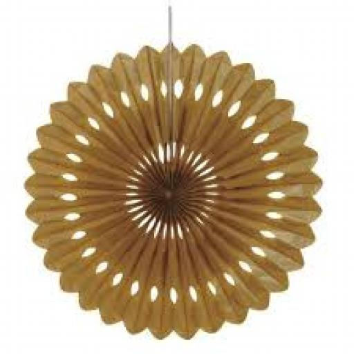 Decorative Paper Fan 16 inch Gold Tissue Paper