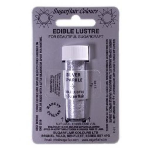 SugarflairEdible Lustre- Silver Sparkler 2g