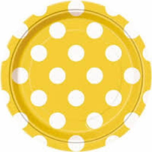 Round Plates 7inch 8ct Sunflower Yellow Dots