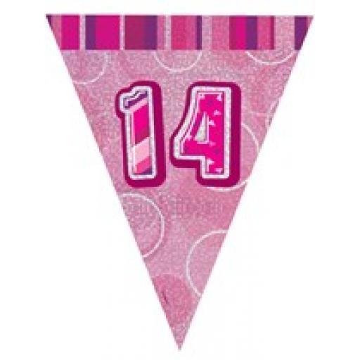 Pink Glitz Flag Banner 14th Birthday 9Ft Long