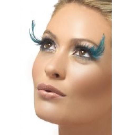 Fever Black & Teal Feather Plumes Eyelashes