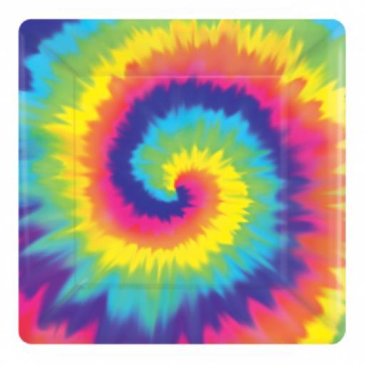 80s Groovy Square Paper Plates 25cm 8pcs