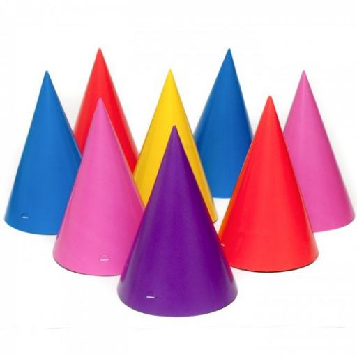 8 Assorted Paper Cone Party Hats