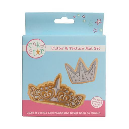 Cake Star Cutters & Texture Mat Set - Crown - 4 Pcs