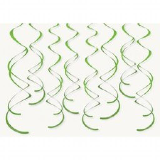 8 Plastic Swirls Green Hanging Decoration
