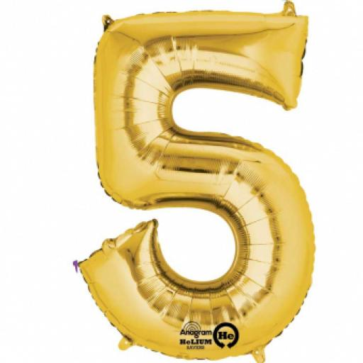 "Number 5 Gold SuperShape Foil Balloon 21""/53cm w x 34""/86cm"