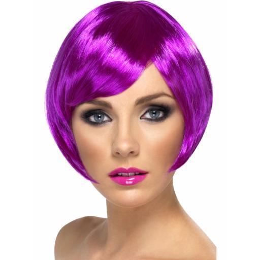 Babe Wig Purple Short Bob & Fringe