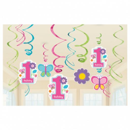Sweet 1st Birthday Girl Hanging Swirls Decorations