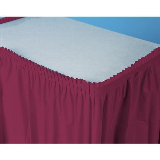 Plastic Burgundy Table Skirt 73cm x 426cm