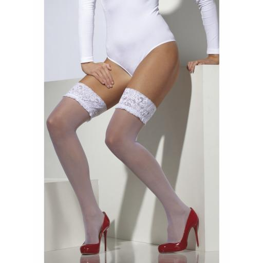 Sheer Hold-Ups Lace Top with Silicone White