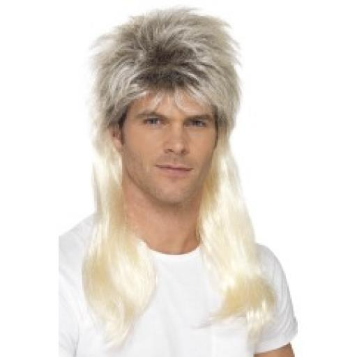 80s Rock Mullet Wig Blonde with Dark Roots