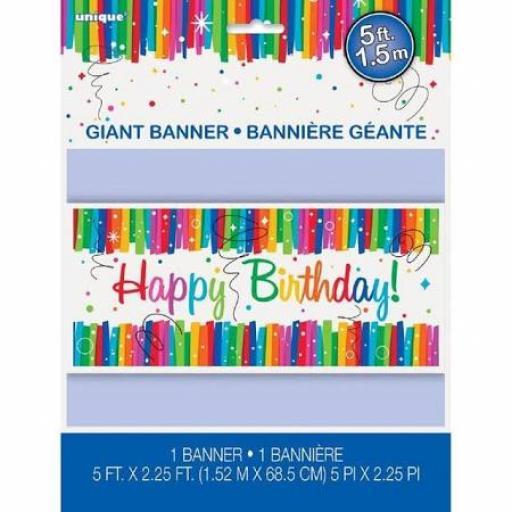 Rainbow Ribbon Happy Birthday Banner Plastic