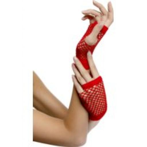 FISHNET GLOVES SHORT RED IN DISPLAY PACK
