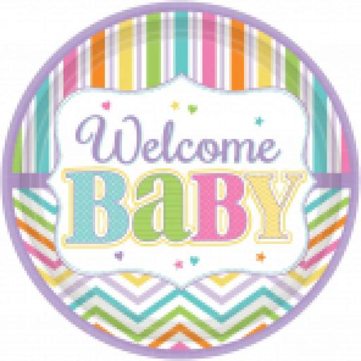 Welcome Baby Brights Paper Plates 18ct 10.5 inch